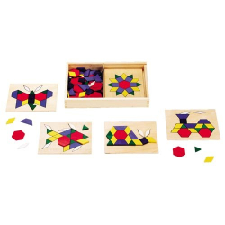 : 130-piece Wooden Pattern Blocks and Boards