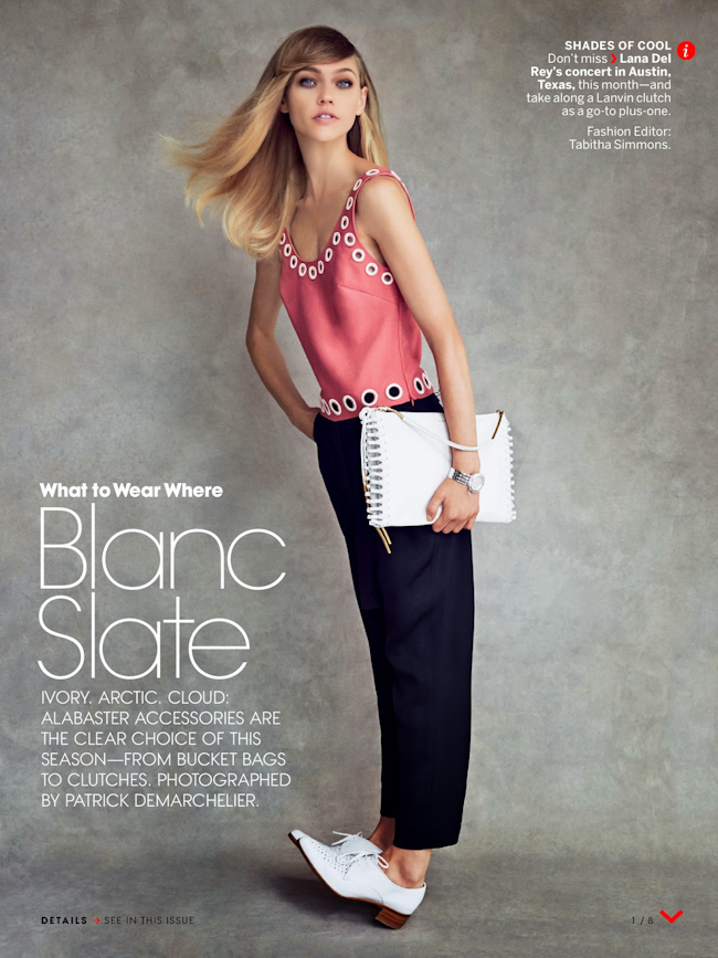 VOGUE MAGAZINE Sasha Pivovarova in Blanc Slate by Patrick Demarchelier. Tabitha Simmons, October 2014, www.imageamplified.com, Image Amplified
