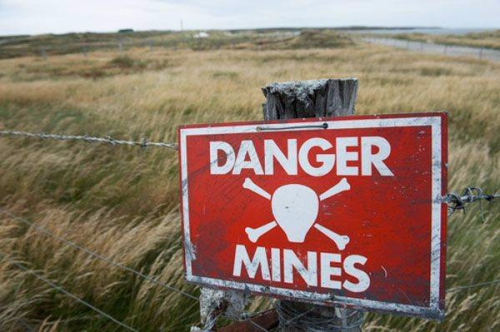 Minefield danger sign