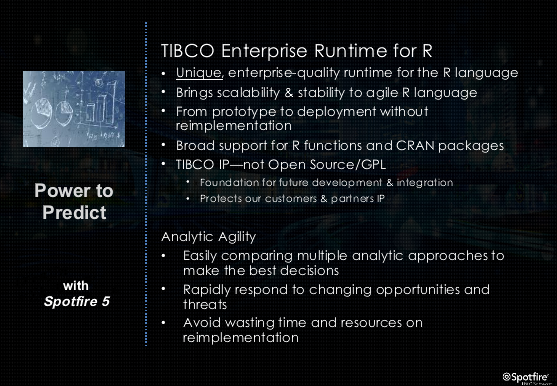 Vendor news: TIBCO's proprietary R runtime; Teradata's appliance integrates R