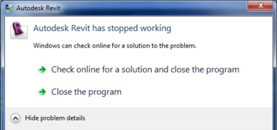Autodesk Revit has stopped working