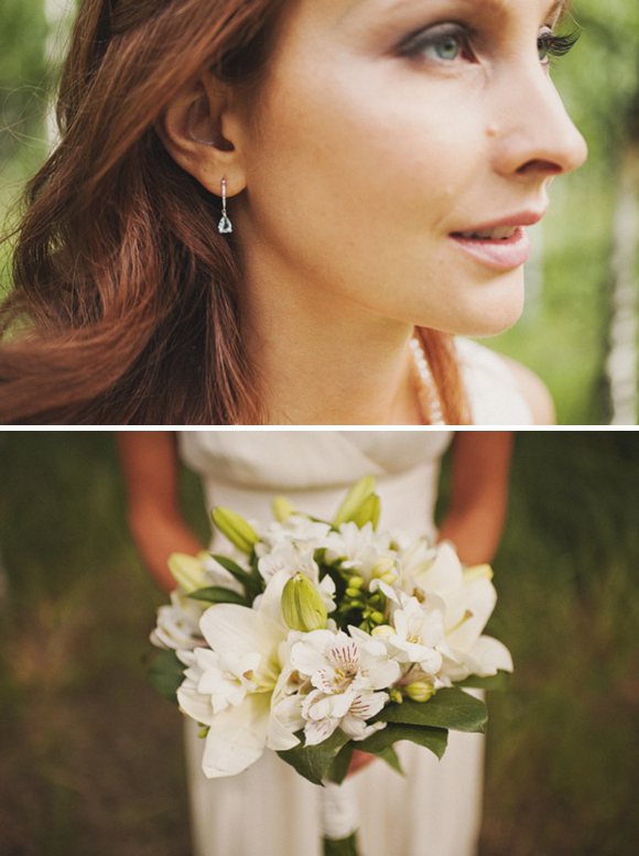 My white bouquet and flower decorations were arranged last minute from