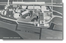 Map of Canadian National Exhibition grounds shows new exhibition hall proposed by George C. Hendrie, named president today at a CNE Association meeting which press attended for the first time. 1968