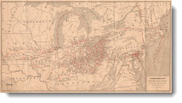 """Underground"" routes to Canada: showing the lines of travel of fugitive slaves, 1896"