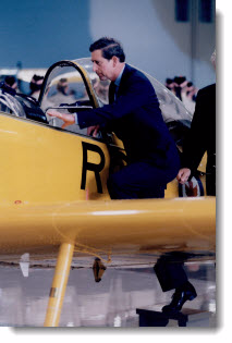 Charles, Prince of Wales, at the Canadian Warplane Heritage Museum, 1996