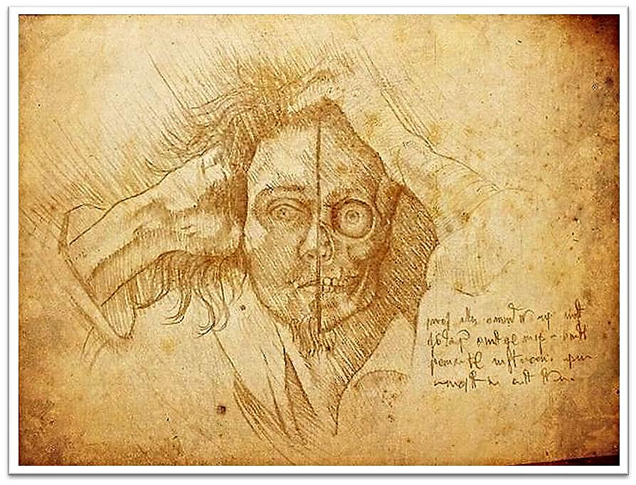 """Postal de Alejandro Simón imaginando la respuesta de Leonardo da Vinci,  al utilizar como modelo el """"Hombre desesperado"""" de Courbet"""