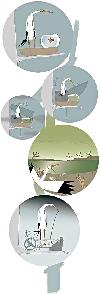 Ilustración de Eduardo Galindo del cuento de Rita, la cigüeña planetaria de María José Griñón Pellicer: Maestra y cuentacuentos