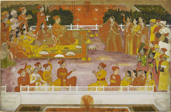 A young nobleman enjoying Holi with his consort Attributed to the artist Nidhamal, Lucknow, 1760-5 British Library, Add.Or.5700