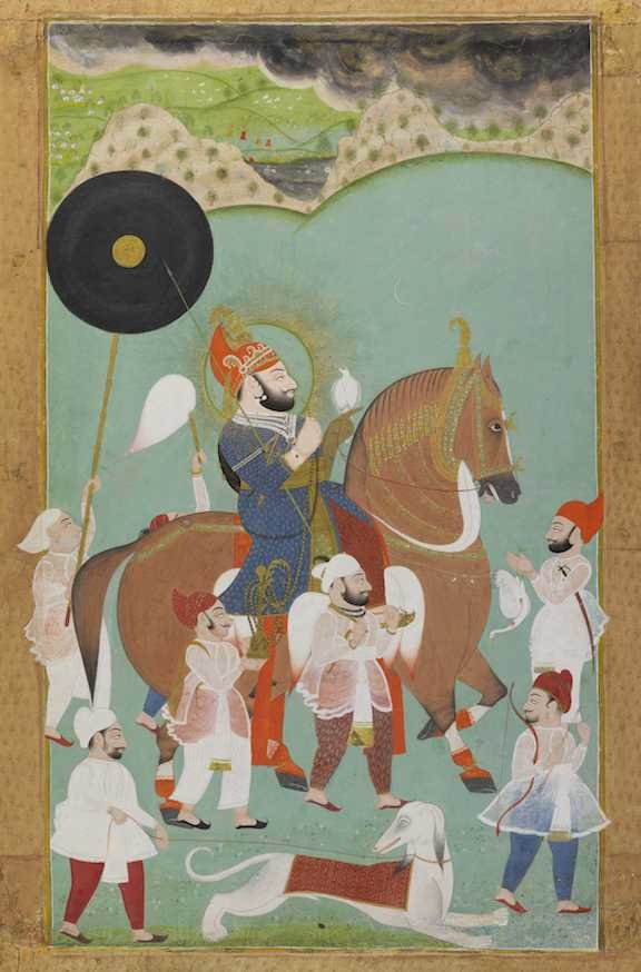 Maharana Bhim Singh of Mewar out hunting, Mewar (Rajasthan, India), c. 1800-10. British Library, Add.Or.4662.