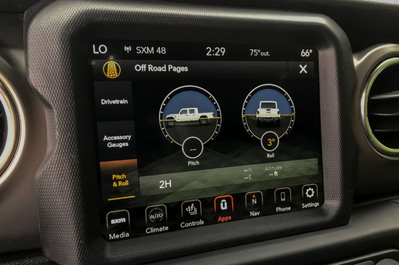 2020 Jeep Gladiator Off-Road Display Screen
