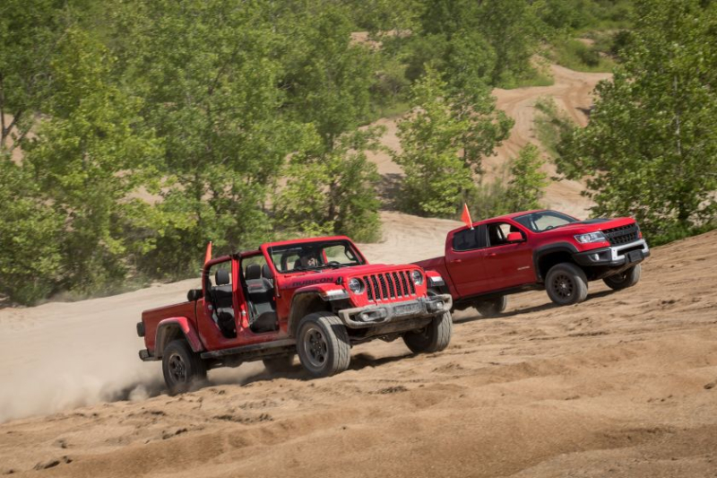 2020 Jeep Gladiator Rubicon and 2019 Chevrolet Colorado ZR2 Bison In Sand