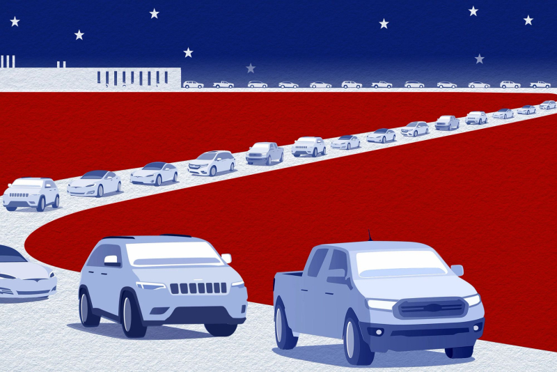Cars.com 2020 American-Made Index Illustration of Cars Leaving a Factory