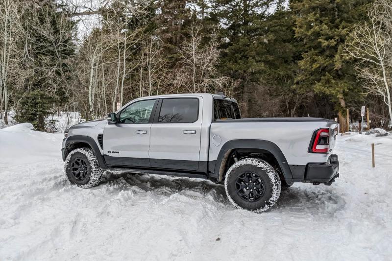 2021 Ram 1500 TRX Side Profile In Snow