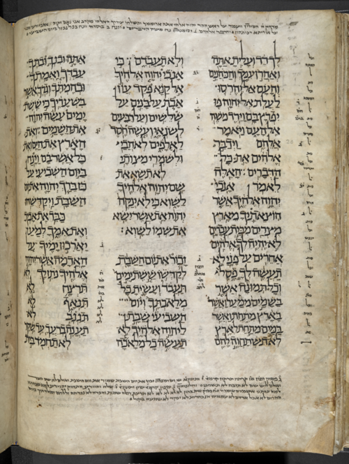 The Ten Commandments (Exodus 20), one of the earliest codes of religious and moral precepts. The London Codex BL MS Or. 4445, f. 61v