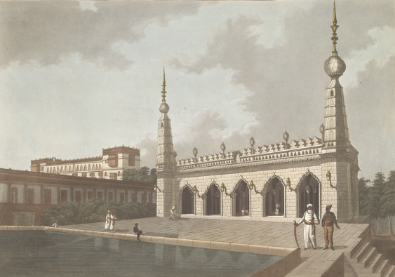 Aquatint based on a picture by Francis Swain Ward (1736-1794) of the mosque adjoining the palace of the Nawab of Arcot at Tiruchchirappalli, Tamil Nadu. Plate 1 from 24 Views in Indostan by William Orme, 1803 (British Library X768/2/1)