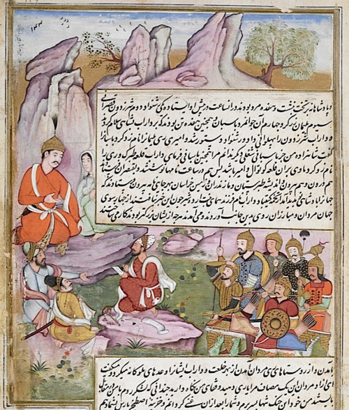Humay watched by Darab as she dictates letters announcing Darab's accession. Artist: Dharmdas (Or.4615, f 114r)