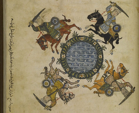 (f. 140r) 'Illustration of four horsemen, each one with a sword and a hide shield, and each one carrying his shield on his horse's croup'.