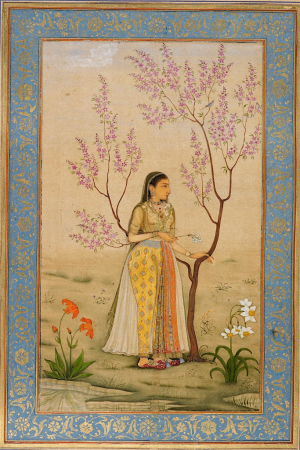 Lady with a narcissus, perhaps Mumtaz Mahal, attributed to Bishndas, 1631-33 (British Library Add.Or.3129, f.34r)