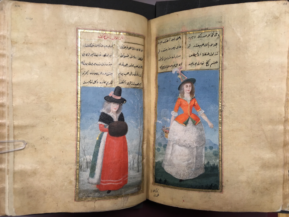Right: an English woman carrying a basket of flowers and wearing a tall green hat, similar in shape to the Welsh national hat Left: Dutch woman with her hands in a muff, against a snow-covered landscape (British Library Or.7094, ff.43v-44r)