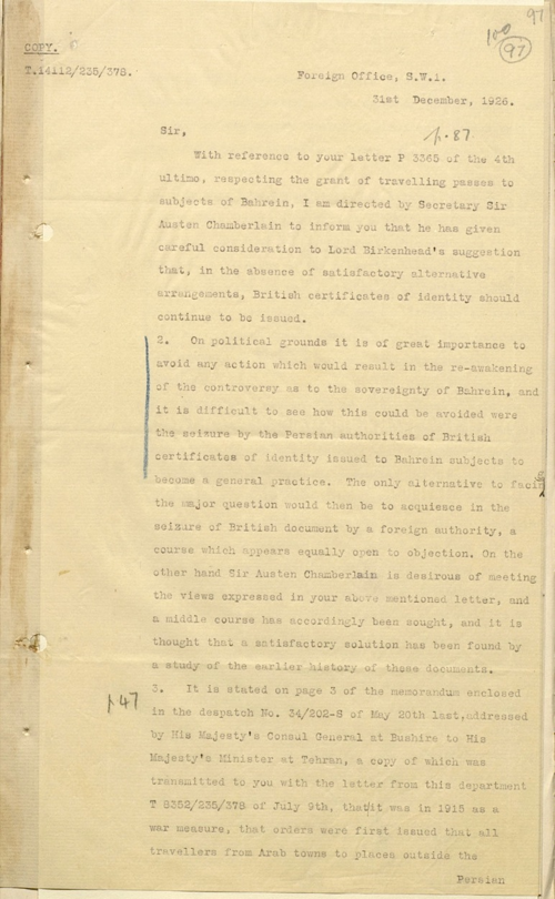 First page of a letter to the India Office from G. R. Warner at the Foreign Office, 31 December 1926 (IOR/R/15/1/321, f. 97)