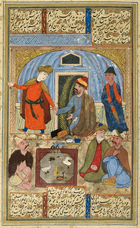 An older man clasps the hand of a departing adolescent boy, based on a ghazal from the Kullīyāt of Saʿdī, dated 1624 (BL IO Islamic 843, f. 322r)