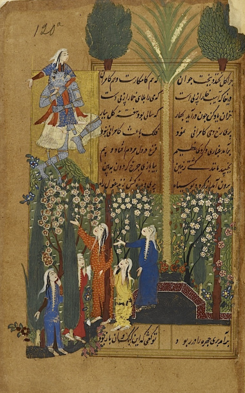 The prince's tale: a black div abducts the daughter of the king of furthest Kashmir while visiting a garden outside the city (BL IO Islamic 3241, f. 120r)