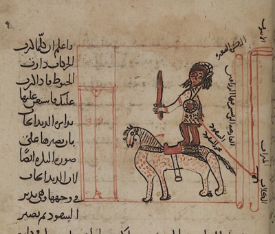 Automaton of an executioner on horseback, from Kitāb Arshimīdas, dated AD 1292 (Or 14270, f. 10r)