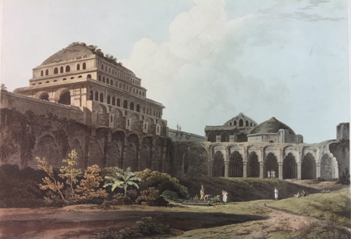 Aquatint by Thomas and William Daniell of a missing courtyard, 1792. (British Library P948)