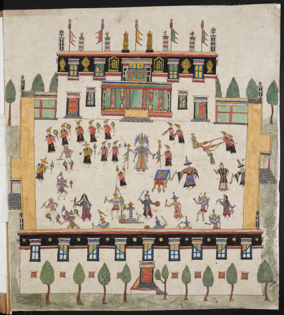 Illustration of a ceremony taken place in the courtyard of the Nechung Monastery in Lhasa, seat of the former Tibetan State Oracle (BL Add.Or.3043)