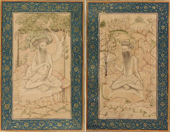 Two ascetics from the Album of Dara Shikoh. Attributed to Govardhan, c. 1610 (British Library Add.Or.3129, ff.11v, 12r)