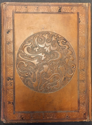 the same design used as part of the design of the binding (BL Or.14758, f. 2r and front binding)