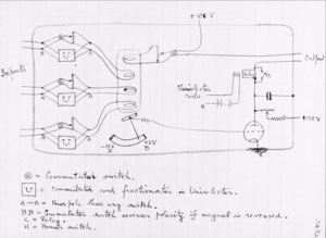A hand-drawn circuit diagram with formulae beneath
