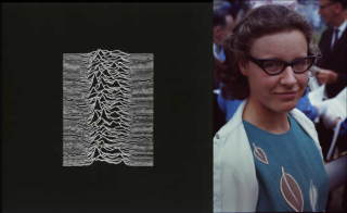 A diagram showing the radiation from a pulsar on the left and a curly-haired white woman in spectacles on the right