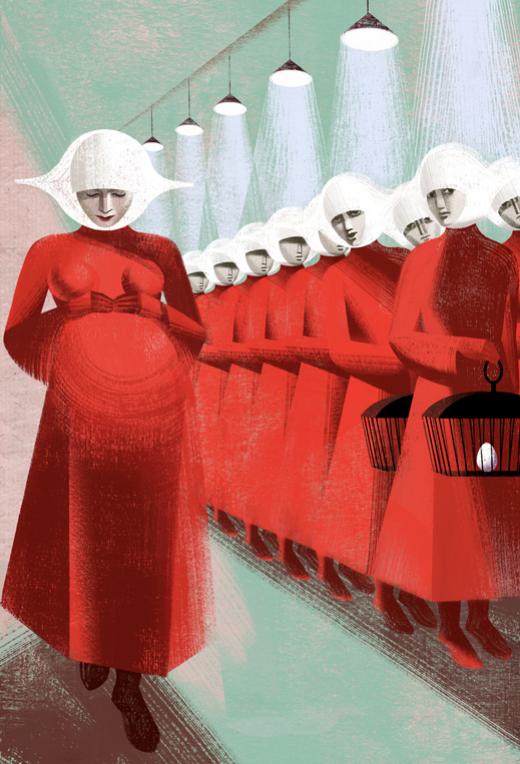 """""""Embarazada"""". Ilustración galardonada con la Medalla de Oro de la Sociedad de Ilustradores. Forma parte del libro ilustrado """"Handmaid's Tale"""", de Margaret Atwood, publicado por The Folio Society. Balbusso 2012."""