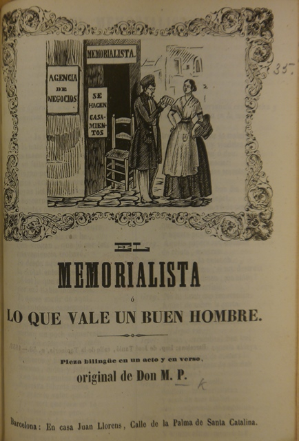 Title-page of 'El Memorialista' with a woodcut of the letter-writer talking to the maid outside his shop