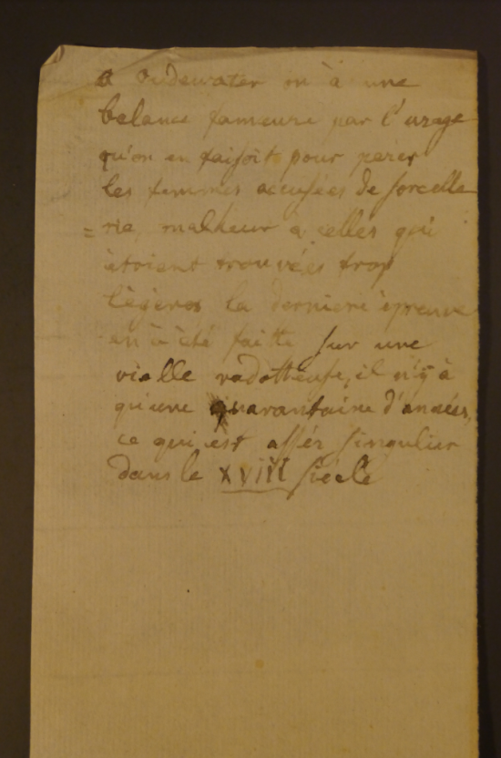 Manuscript note about the custom of weighing suspected witches at Oudewater