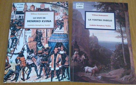 Covers of 'La vivo de Henriko Kvina' and ' La vintra fabelo'