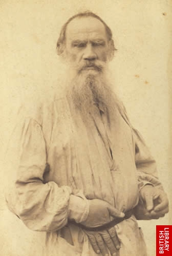 Photograph of Tolstoy wearing a white tunic