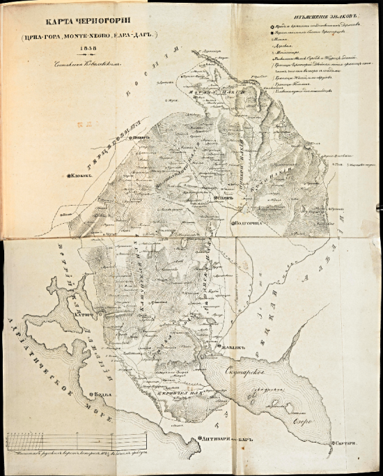 19th-century Russian map of Montenegro