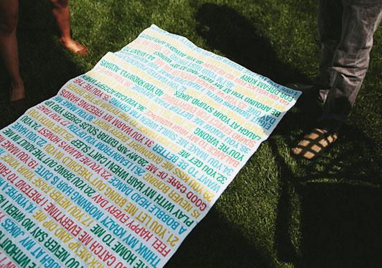 Custom blanket featuring reasons this bride loves her groom