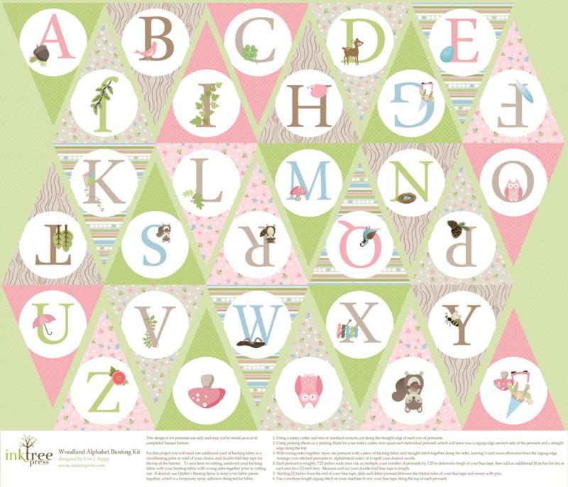 Pink Woodland Alphabet Bunting by InkTreePress