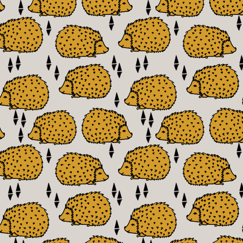 Hedgehogs- light grey/saffron designed by Andrea Lauren