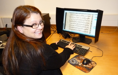 Sarah Biggs checking the qualityof a digital image from a manuscript of Hikayat Dewa Mandu, Add. 12376.  Sarah is famed as the author of the 'Knight v. Snail' posting in Sept 2013 on the BL's Medieval Manuscripts blog, which garnered 36,000 views worldwide in a single day!