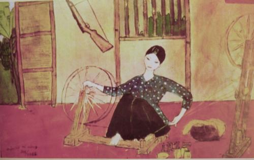 Weaving. Pastel. Artist: Dương Ðình Khoa. Báo Ảnh Việt Nam, 1969, no.139. British Library, SU216(2)