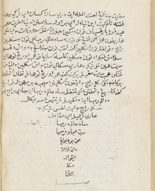 Colophon of Hikayat Pelanduk Jenaka, undated but in a volume together with copies of Hikayat Muhammad Hanafiah and Hikayat Syahi Mardan, both of which are in the same hand and dated 1220 (1805/6). British Library, MSS Malay D.5, f. 169v.