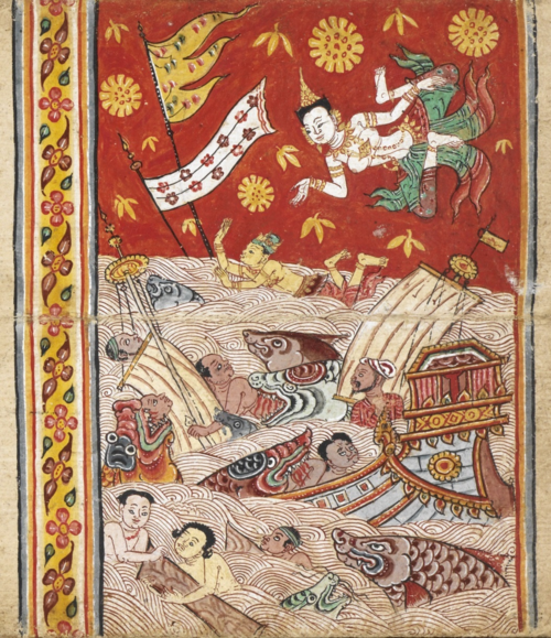 Mahajanaka's rescue in a more abstract painting style with a bright red background and floral decorations. The outfits of the goddess and Mahajanaka are in the tradition of the late Ayutthaya  style. This Thai manuscript from the 18th century contains the Mahabuddhaguna and other extracts from the Pali canon. British Library, Or.14068, f. 3.