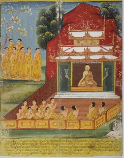 The Buddha at Varanasi in a Burmese manuscript. British Library, Or. 14553, f. 4