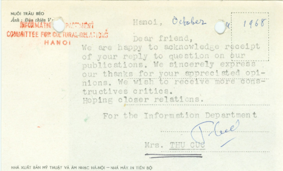 Postcard to the Library of the British Museum from the Committee for Cultural Relations with Foreign Countries, Hanoi, October 1968.