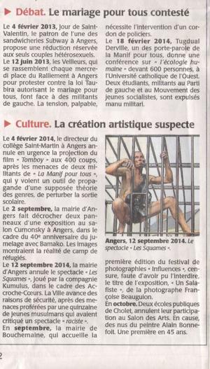 Courrier de l'Ouest mardi 28 oct 2014 PAGE 1 INTERIEURE N°4 à gauche de l'article