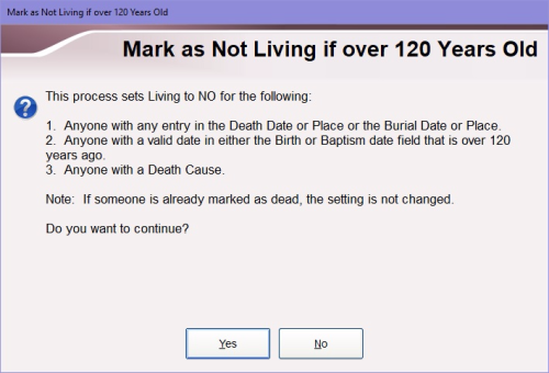Criteria for marking someone as deceased